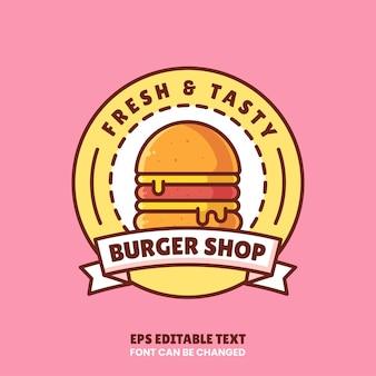 Ilustração do ícone do vetor do logotipo da loja de hambúrguer; logotipo premium de fast food em estilo simples para restaurante