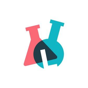 Ilustração do ícone do vetor do logotipo do copo de laboratório da letra l