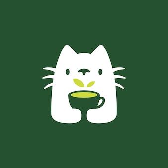 Ilustração do ícone do vetor do logotipo do espaço negativo do copo de bebida da árvore do gato