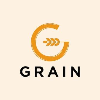 Ilustração do ícone do vetor do logotipo do grão de trigo letra g
