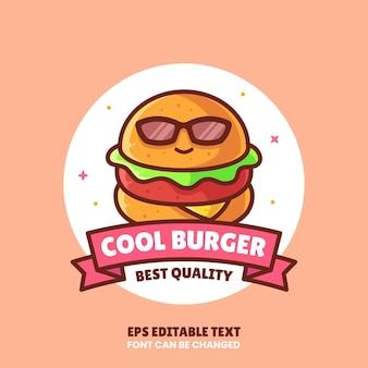 Ilustração do ícone do vetor do logotipo do hambúrguer legal logotipo de fast food premium em estilo simples para restaurante