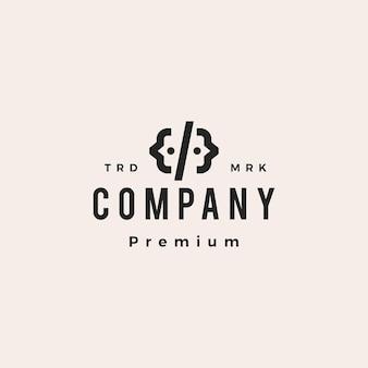 Ilustração do ícone do vetor do logotipo do vintage da equipe do código das pessoas