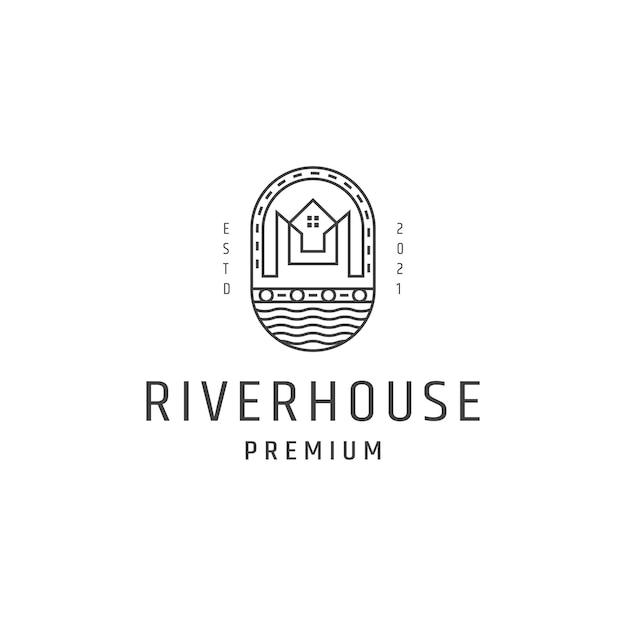 Ilustração do ícone do vetor do logotipo do vintage do estilo da casa do rio