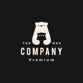 Ilustração do ícone do vetor do urso polar mãe e filho filhote hipster logotipo vintage
