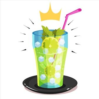 Ilustração do ícone do vetor dos desenhos animados da limonada real mojito