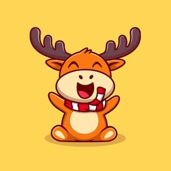 Ilustração do ícone do vetor dos desenhos animados da rena do bebê fofo. conceito de ícone de natureza animal isolado vetor premium. estilo flat cartoon