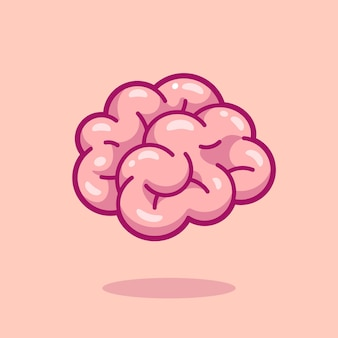 Ilustração do ícone do vetor dos desenhos animados do cérebro. conceito de ícone de objeto de educação isolado vetor premium. estilo flat cartoon