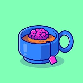 Ilustração do ícone do vetor dos desenhos animados do copo de chá do cérebro. bebida educação ícone conceito isolado vetor premium. estilo flat cartoon
