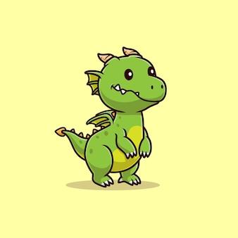 Ilustração do ícone do vetor dos desenhos animados do dragão do bebê fofo. conceito de ícone de natureza animal isolado vetor premium. estilo flat cartoon
