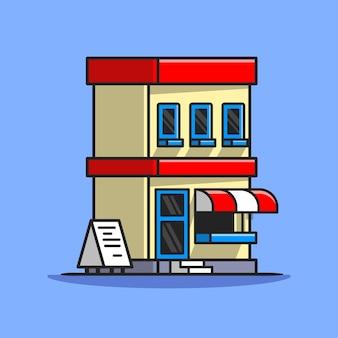 Ilustração do ícone do vetor dos desenhos animados do edifício da rua cafe. conceito de ícone de construção de negócios isolado vetor premium. estilo flat cartoon
