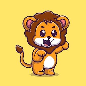 Ilustração do ícone do vetor dos desenhos animados do leão do bebê fofo. conceito de ícone de natureza animal isolado vetor premium. estilo flat cartoon