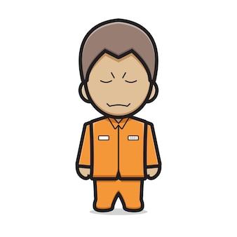 Ilustração do ícone do vetor dos desenhos animados do personagem prisioneiro bonito. vetor isolado do conceito de ícone de vilão. estilo de desenho plano