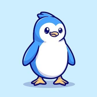 Ilustração do ícone do vetor dos desenhos animados do pinguim do bebê fofo. conceito de ícone de natureza animal isolado vetor premium. estilo flat cartoon