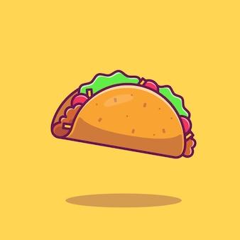 Ilustração do ícone do vetor dos desenhos animados do taco. conceito de ícone de fast-food isolado vetor. estilo flat cartoon
