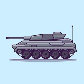 Ilustração do ícone do vetor dos desenhos animados do veículo tanque. vetor isolado conceito de ícone de transporte militar. estilo flat cartoon