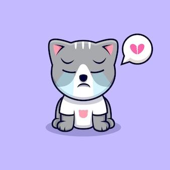 Ilustração do ícone dos desenhos animados a chorar do gato bonito. estilo flat cartoon