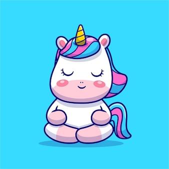 Ilustração do ícone dos desenhos animados da meditação do unicórnio fofo.