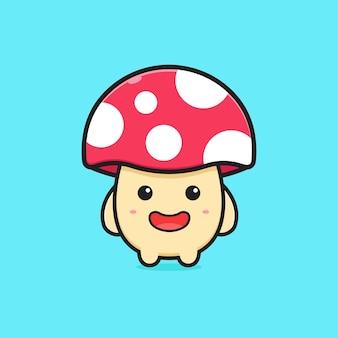 Ilustração do ícone dos desenhos animados de cogumelo feliz fofo. projeto isolado estilo cartoon plana