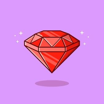 Ilustração do ícone dos desenhos animados de diamante. conceito de ícone de objeto de riqueza.