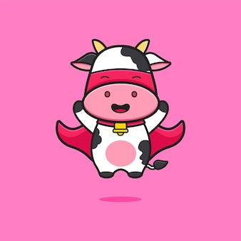 Ilustração do ícone dos desenhos animados de super-herói de vaca bonito. projeto isolado estilo cartoon plana