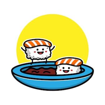 Ilustração do ícone dos desenhos animados de sushi e onigiri fofos com molho de soja