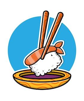 Ilustração do ícone dos desenhos animados de sushi fofo com molho de soja