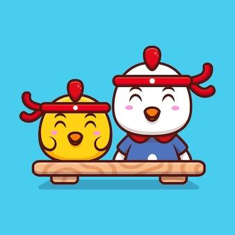 Ilustração do ícone dos desenhos animados do chef fofo de frango pronto para trabalhar