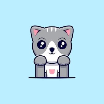 Ilustração do ícone dos desenhos animados do gato bonito. estilo flat cartoon