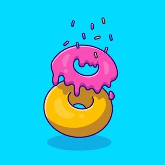 Ilustração do ícone dos desenhos animados do ingrediente do donut. Vetor Premium
