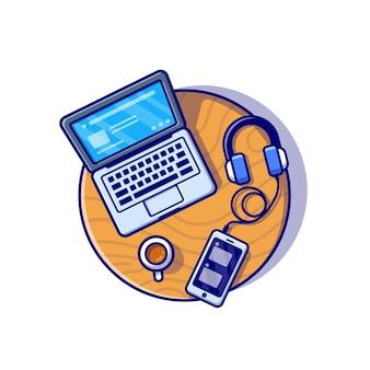 Ilustração do ícone dos desenhos animados do laptop, smartphone e fone de ouvido. conceito de ícone de tecnologia de negócios isolado. estilo flat cartoon