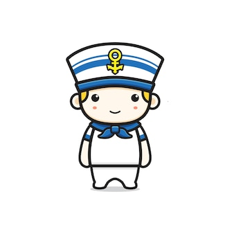 Ilustração do ícone dos desenhos animados do personagem de marinheiro bonito. projeto isolado estilo cartoon plana