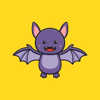 Ilustração do ícone dos desenhos animados do personagem de mascote de morcego bonito. projeto isolado estilo cartoon plana