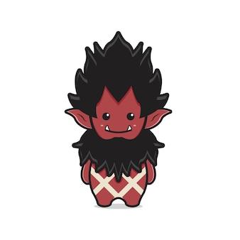 Ilustração do ícone dos desenhos animados do personagem mascote bonito do orc. projeto isolado estilo cartoon plana