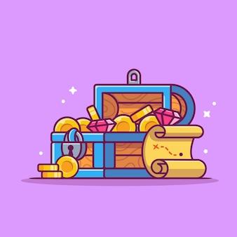Ilustração do ícone dos desenhos animados do tesouro.