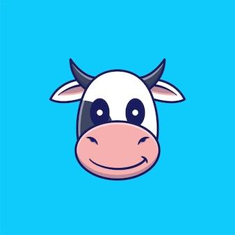 Ilustração do ícone dos desenhos animados em vetor de cabeça de vaca fofa