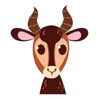 Ilustração do ícone e símbolo do emoticon do bebê gazela. desenho do clipart do animal do zoológico do bebê