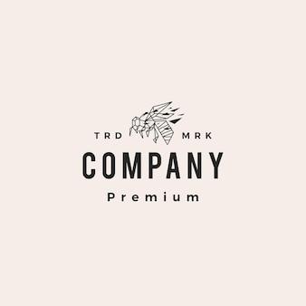 Ilustração do ícone geométrico de abelha hipster do logotipo vintage