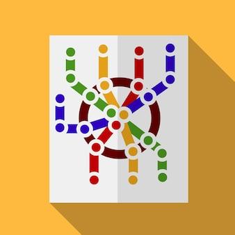Ilustração do ícone plana do mapa do metrô símbolo de sinal de vetor isolado