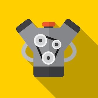 Ilustração do ícone plana do motor do carro símbolo de sinal de vetor isolado