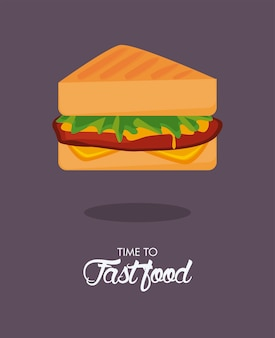 Ilustração do ícone sandwiche delicious fast food