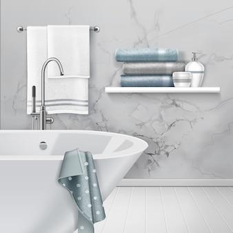 Ilustração do interior claro do banheiro