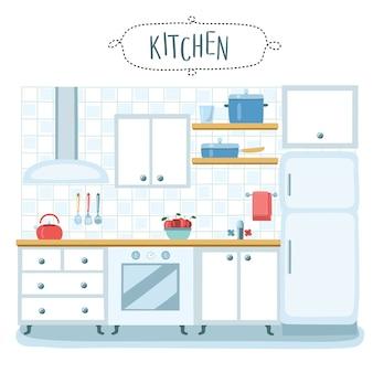 Ilustração do interior da cozinha em fundo isolado