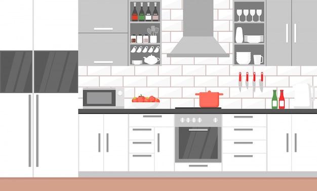 Ilustração do interior da cozinha moderna com fogão, armário, pratos e geladeira.