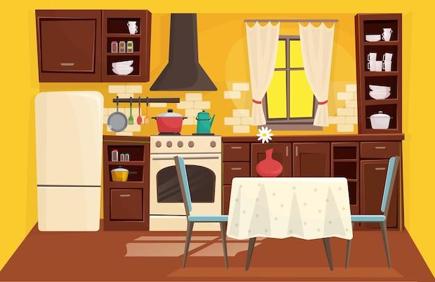 Ilustração do interior da cozinha tradicional com estilo clássico de madeira