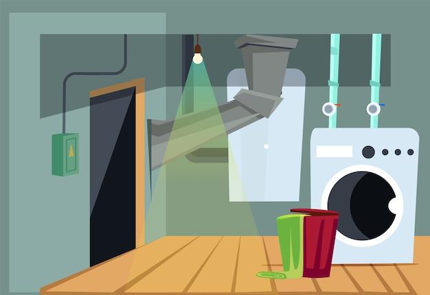 Ilustração do interior da lavanderia com equipamento doméstico, máquina de lavar e caldeira de água.