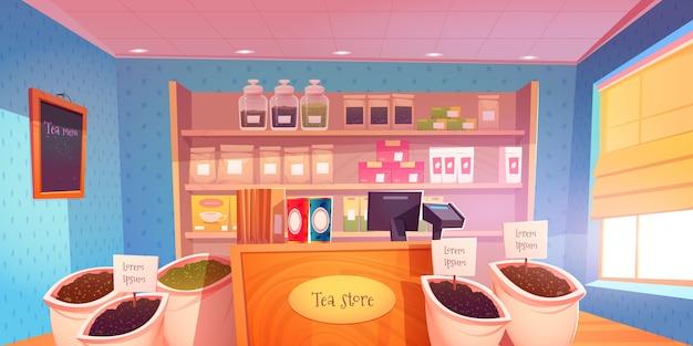 Ilustração do interior da loja de chá dos desenhos animados