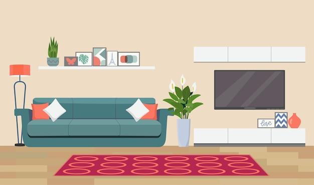 Ilustração do interior da sala de estar