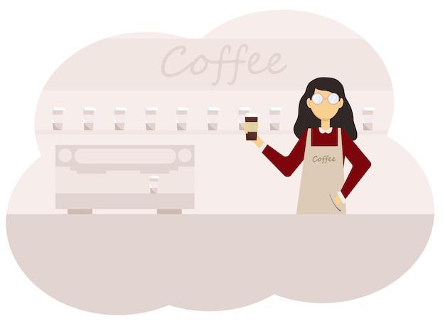 Ilustração do interior de uma cafeteria e uma barista tomando uma xícara de café