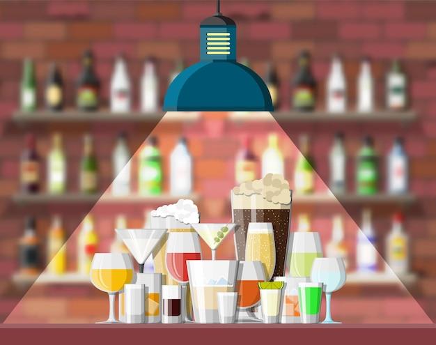 Ilustração do interior do bar, café ou bar