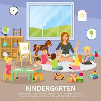 Ilustração do jardim de infância